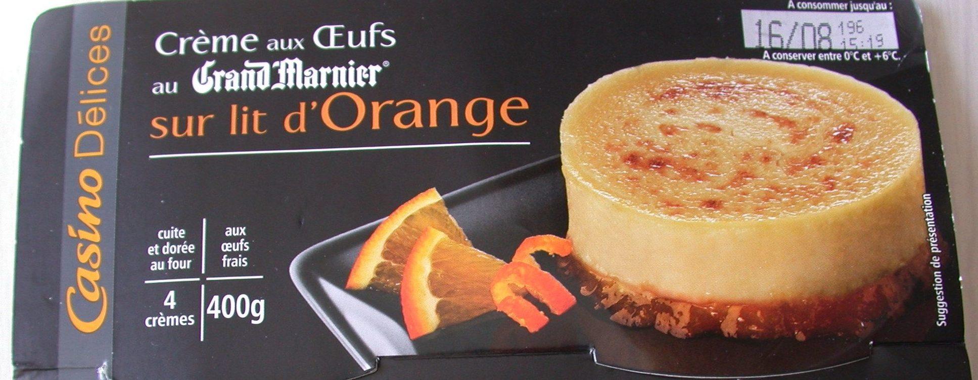 Crème aux œufs saveur vanille sur lit à l'orange - cuite et dorée au four - Produit - fr