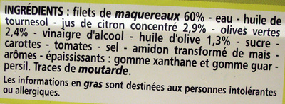 Filets de Maquereaux (au citron et à l'olive) - Ingrédients