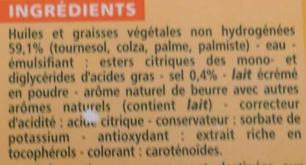 Tartine et Cuisine - 60% de matières grasses - Ingrediënten - fr