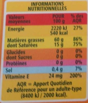 Tartine et Cuisine - 60% de matières grasses - Voedingswaarden - fr