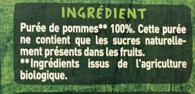 Purée pomme sans sucres ajoutés* *conformément à la réglementation. contient des sucres naturellement présents dans les fruits. - Ingrédients
