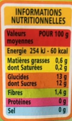 Purée pomme sans sucres ajoutés* *conformément à la réglementation. contient des sucres naturellement présents dans les fruits. - Informations nutritionnelles