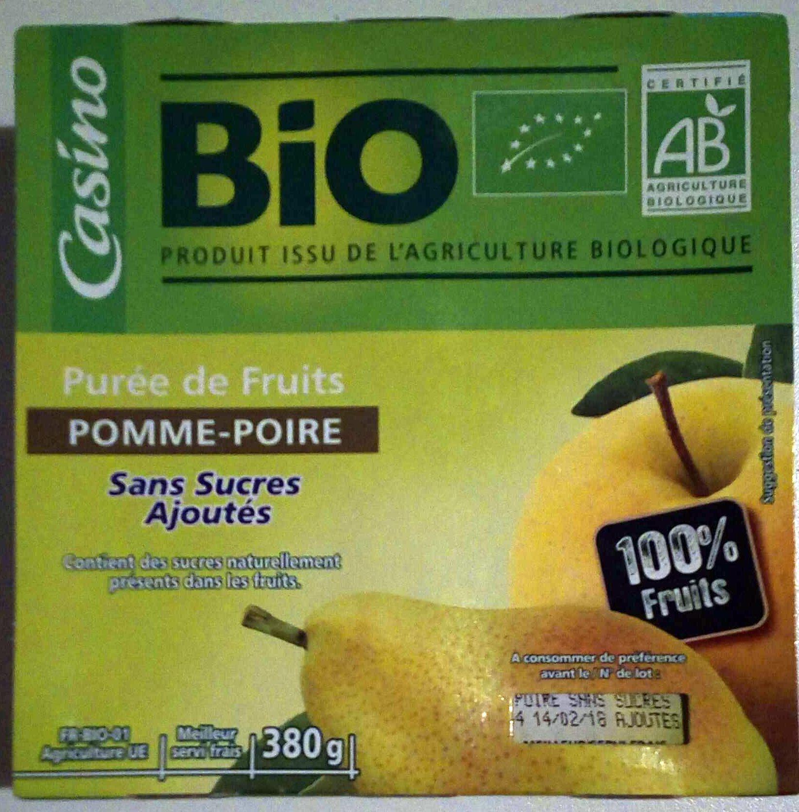 Purée pomme poire sans sucres ajoutés* *conformément à la réglementation. contient des sucres naturellement présents dans les fruits. - Product