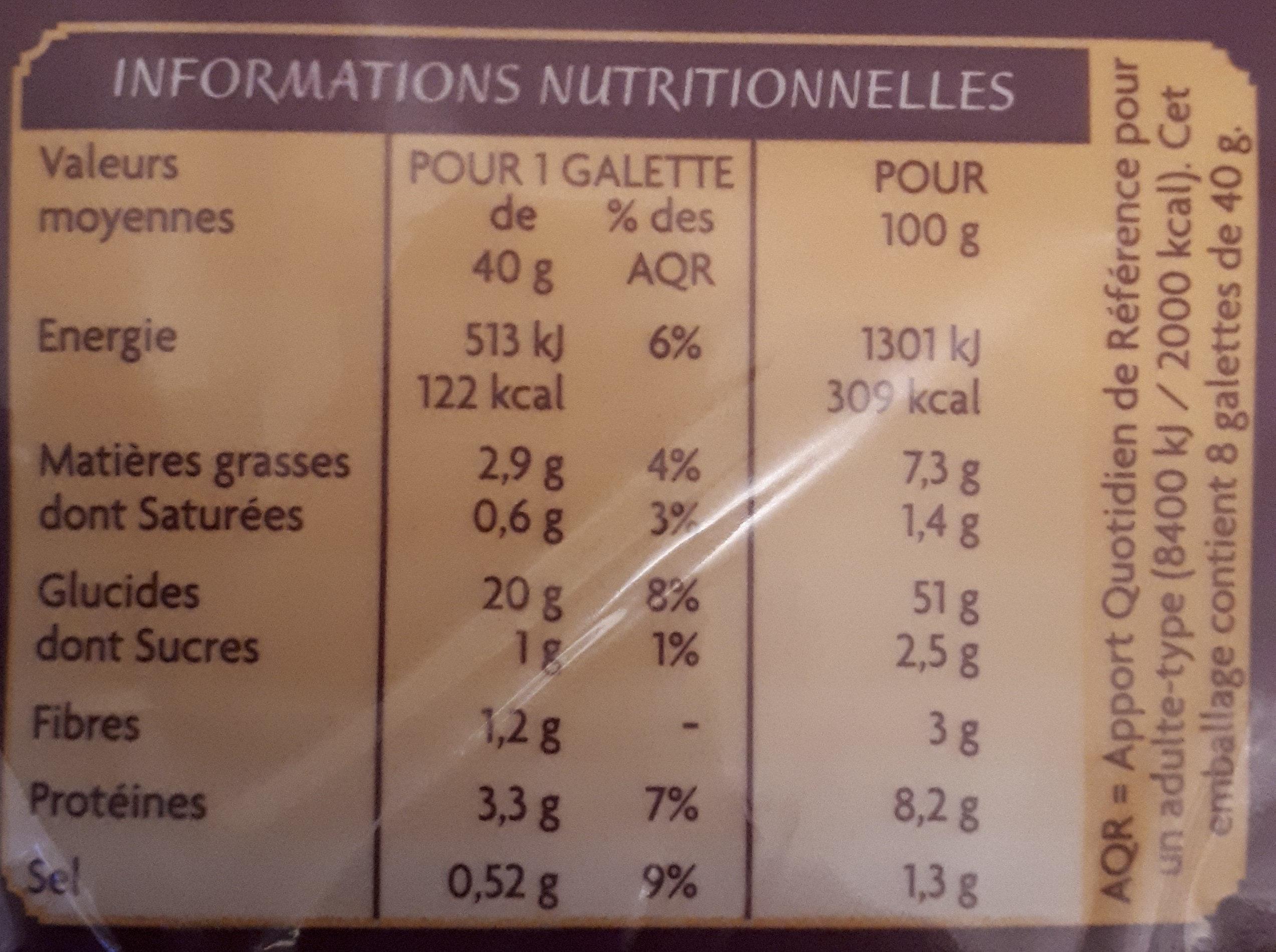 Tortillas de blé et maïs Casino - Informations nutritionnelles