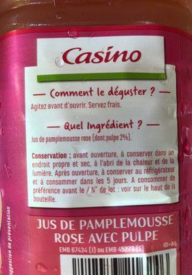 100% Pur Jus Pamplemousse rose avec pulpe - Ingrédients