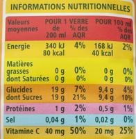 100% Pur Jus Pamplemousse rose avec pulpe - Informations nutritionnelles
