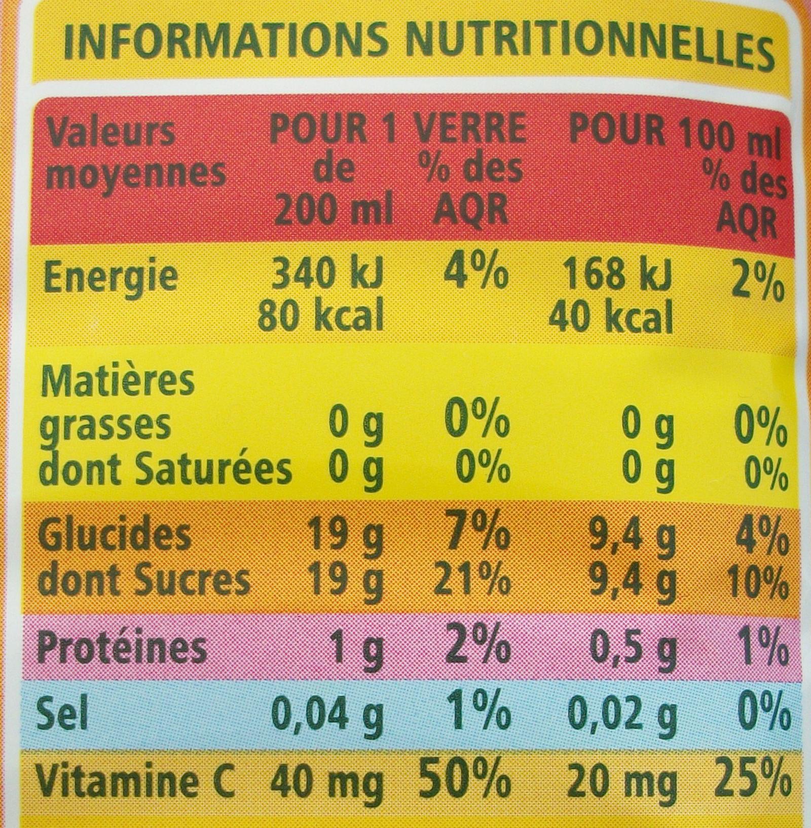 100% Pur Jus Pamplemousse rose avec pulpe - Informations nutritionnelles - fr