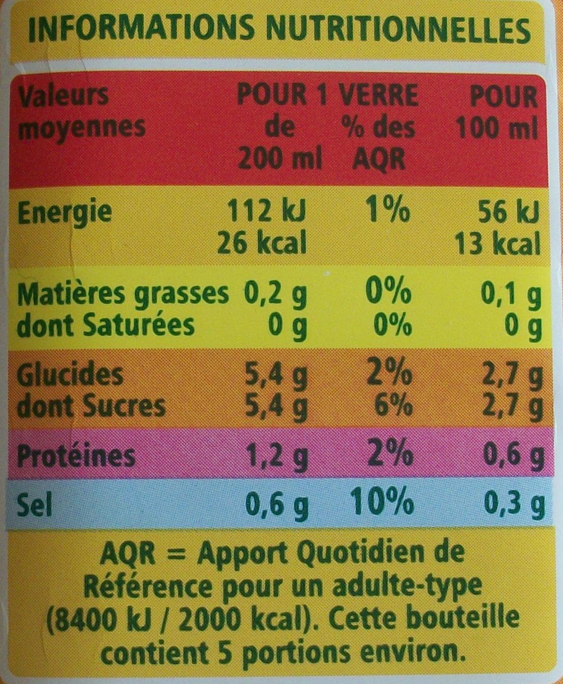 100 % Pur Jus de Tomate salé à 3 g par litre - Informations nutritionnelles - fr