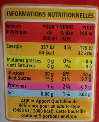 100 % Pur jus de pomme - Voedingswaarden