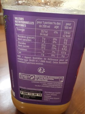 100 % Pur Jus multifruits - Nutrition facts