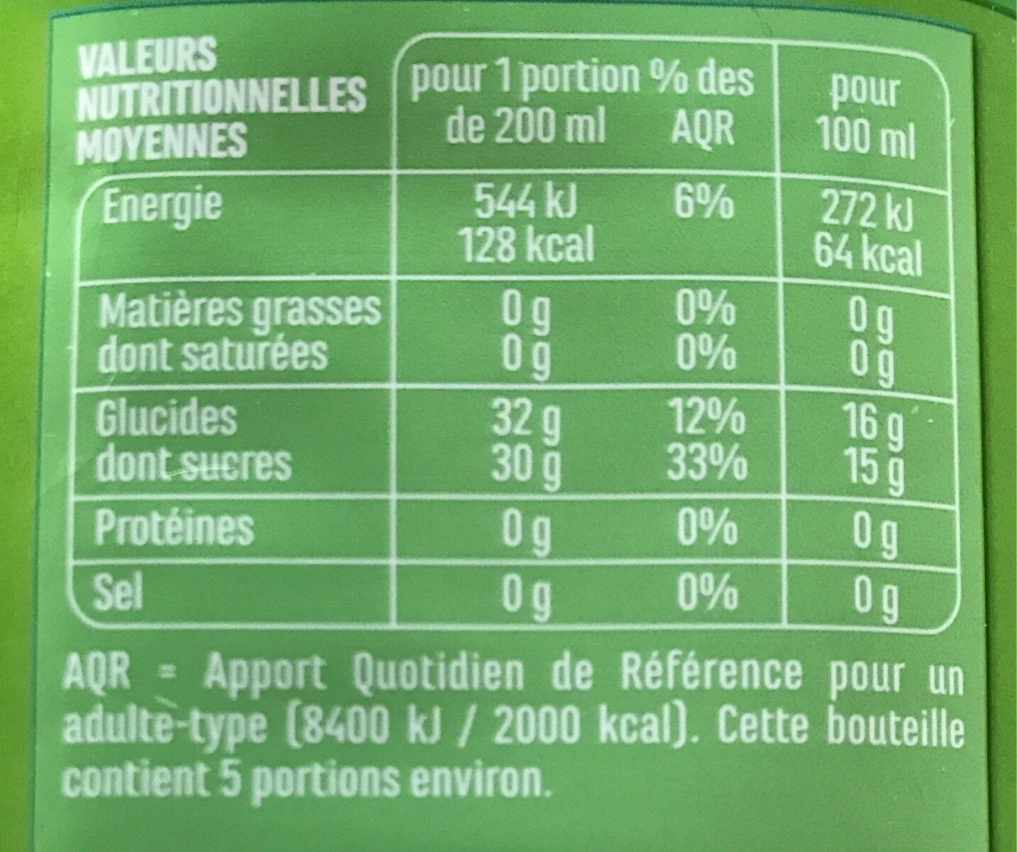 100% PUR JUS Raisin blanc & muscat - Nutrition facts - fr