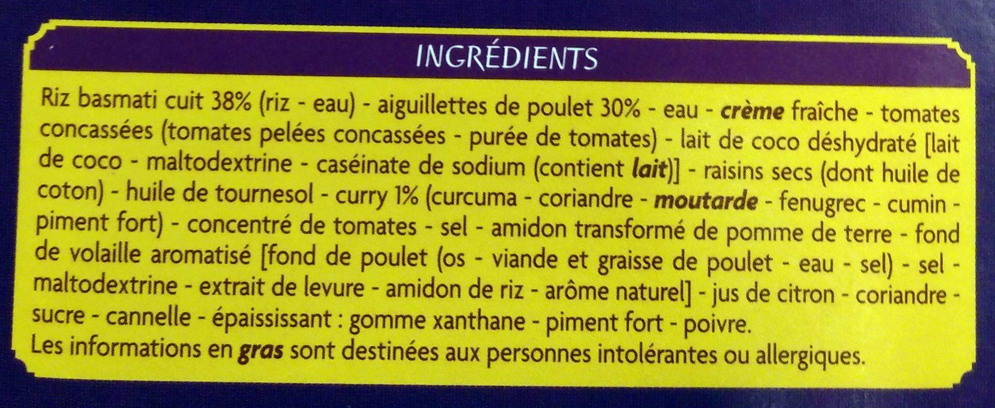 Poulet au curry et riz basmati - Ingrédients