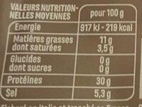 Quart de Jambon cru prétranché - Voedingswaarden