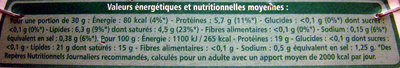 Camembert BIO - Informations nutritionnelles