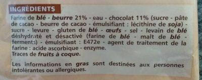6 Pains au chocolat prêts à cuire pur beurre - Ingredients