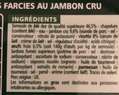 Tortellini jambon cru recette aux oeufs frais - Ingrédients - fr