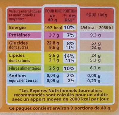 Muesli croustillant Casino - Informations nutritionnelles - fr