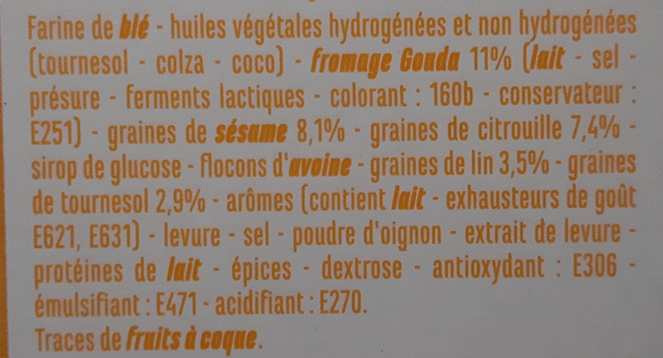Biscuits Fromage & Graines - Ingredients