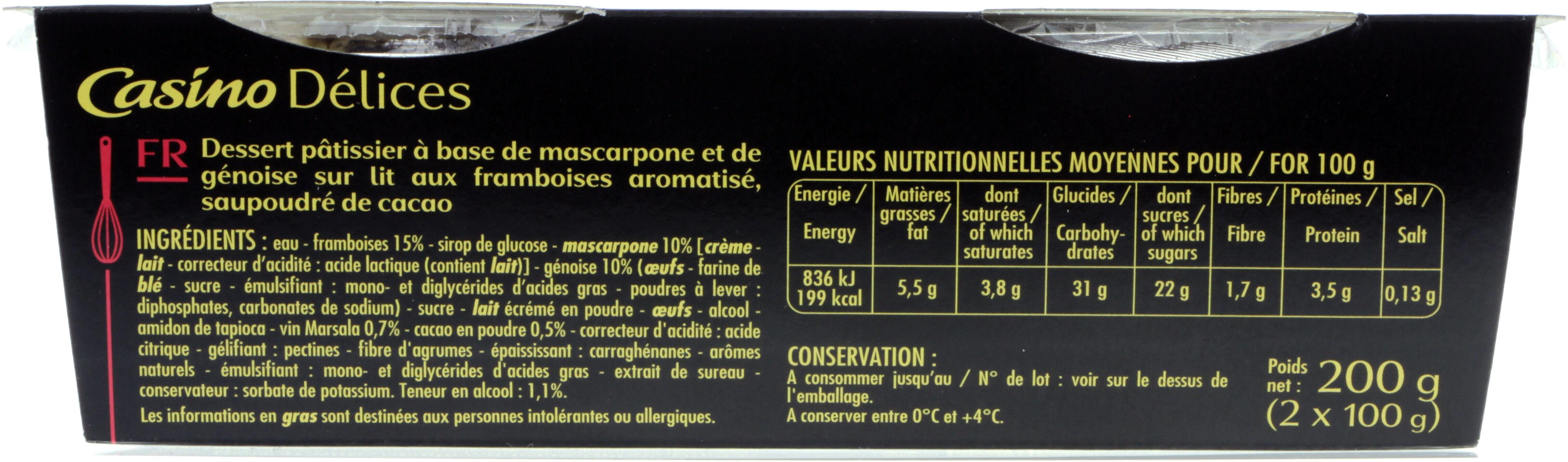 Tiramisu Framboise - Informations nutritionnelles - fr