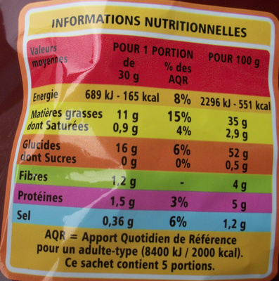Chips Campagnardes - Nutrition facts - fr