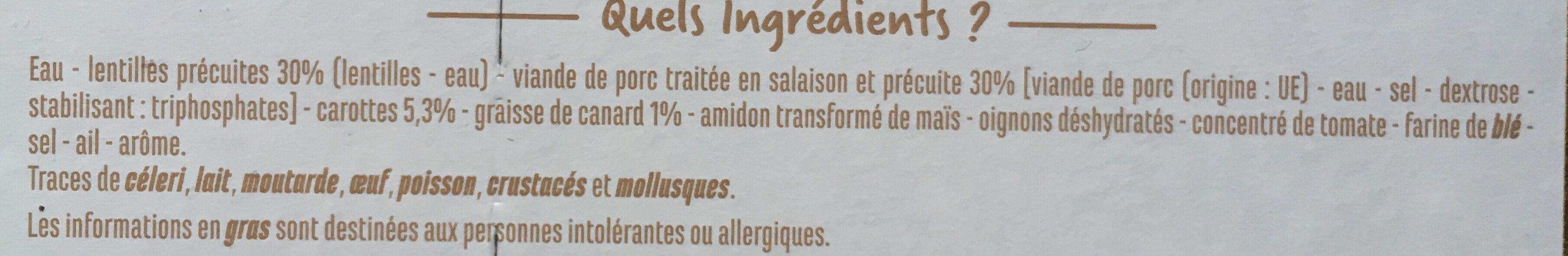 Petit salé aux lentilles à la graisse de canard - Ingredients
