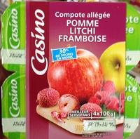 Compote allégée Pommes Litchis Framboises - Produkt