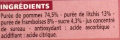 Compote allégée Pommes Litchis Framboises - Inhaltsstoffe