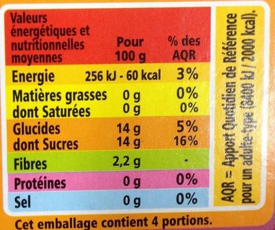 Compote allégée Pommes Litchis Framboises - Nährwertangaben