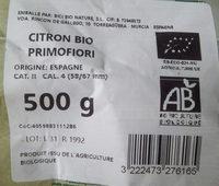 Citron jaune bio - Ingrediënten - fr