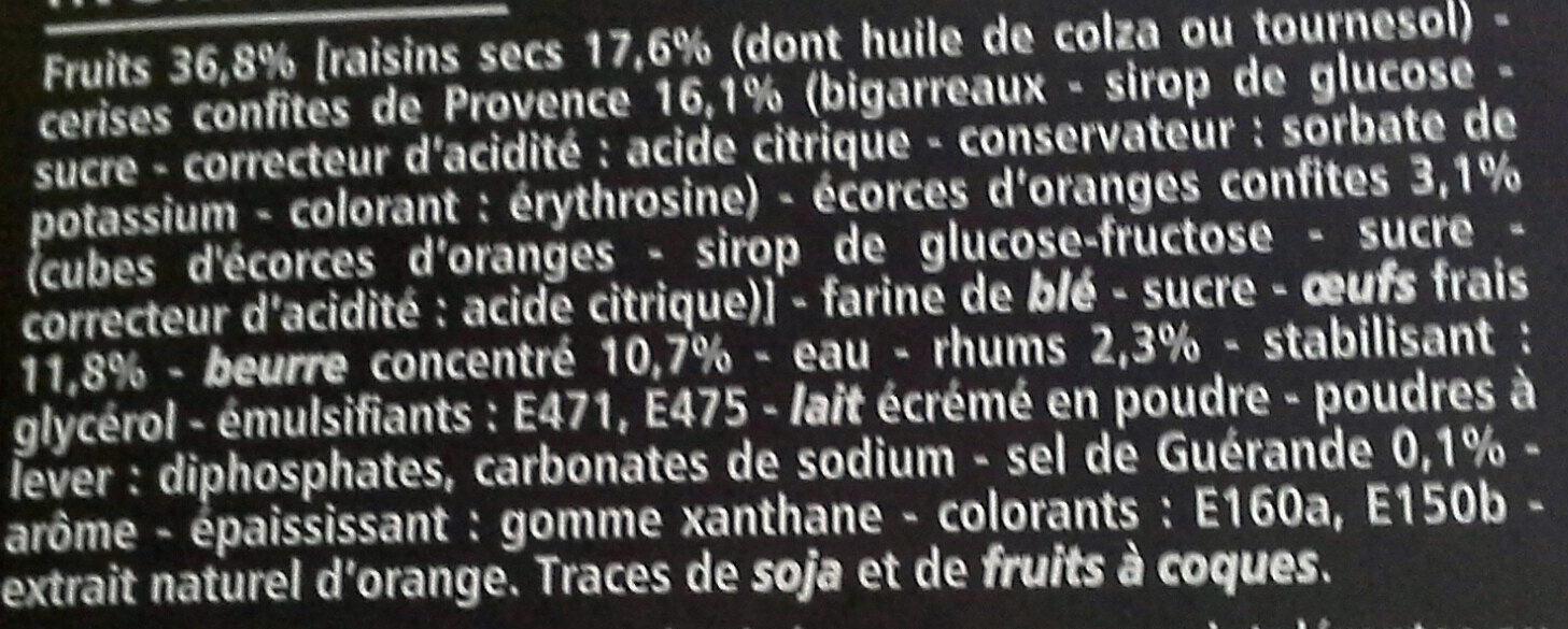 Cake aux fruits aux cerises de Provence, pur beurre - Ingredients