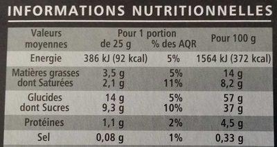 Cake aux fruits aux cerises de Provence, pur beurre - Nutrition facts
