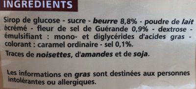 Caramels tendres au beurre salé et à la fleur de sel de Guérande - Ingredients