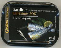 Sardines à l'huile d'olive vierge extra millesime 2017 - 6 mois de garde - Produit