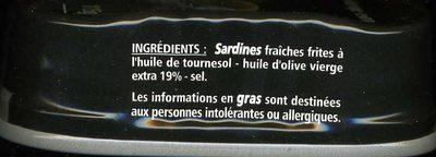 Sardines à l'huile d'olive vierge extra millesime 2017 - 6 mois de garde - Ingrédients