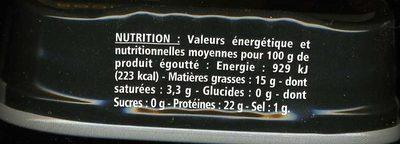 Sardines à l'huile d'olive vierge extra millesime 2017 - 6 mois de garde - Informations nutritionnelles