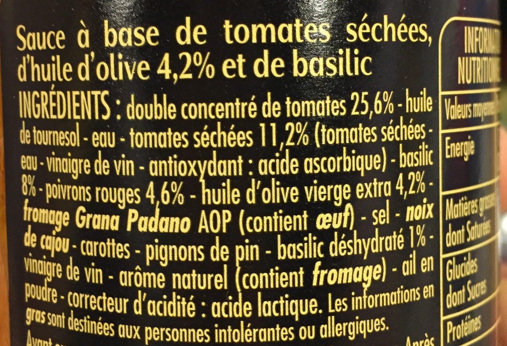 La Sauce Pesto Rosso - Ingrédients - fr