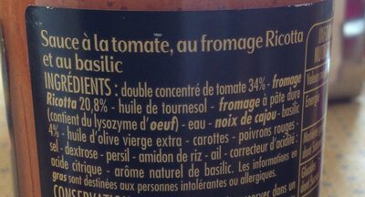 Sauce Tomates Ricotta Basilic - Ingrediënten