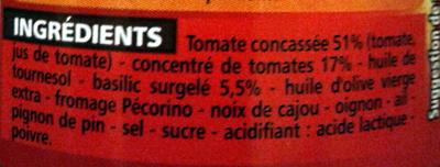 Sauce tomate basilic - Ingredients