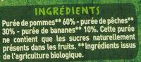 Purée pomme pêche banane - Ingrédients - fr