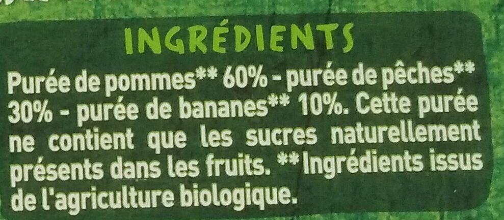 Purée pomme pêche banane - Ingredientes - fr