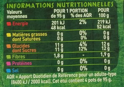 Purée pomme pêche banane - Información nutricional - fr
