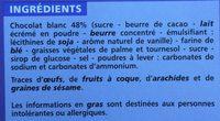 Fusetti au Chocolat Blanc - Ingrédients - fr