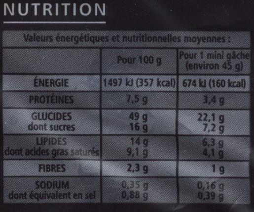 8 mini gâches aux carreaux de chocolat, au beurre et à la crème fraîche - casino delices - Informations nutritionnelles - fr