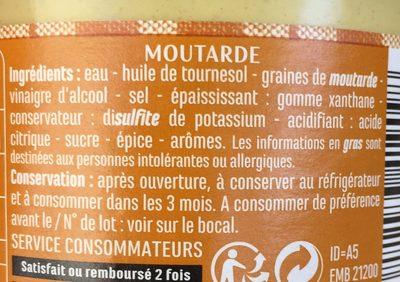 Moutarde mi-forte - Ingrédients - fr