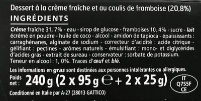 Panna Cotta coulis de framboises - Ingredients - fr