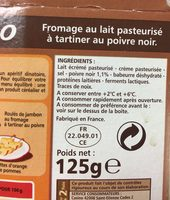 Fromage a Tartiner Poivre Casino - Ingrédients - fr
