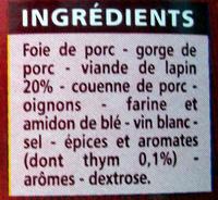 Terrine de Lapin - Ingrédients - fr