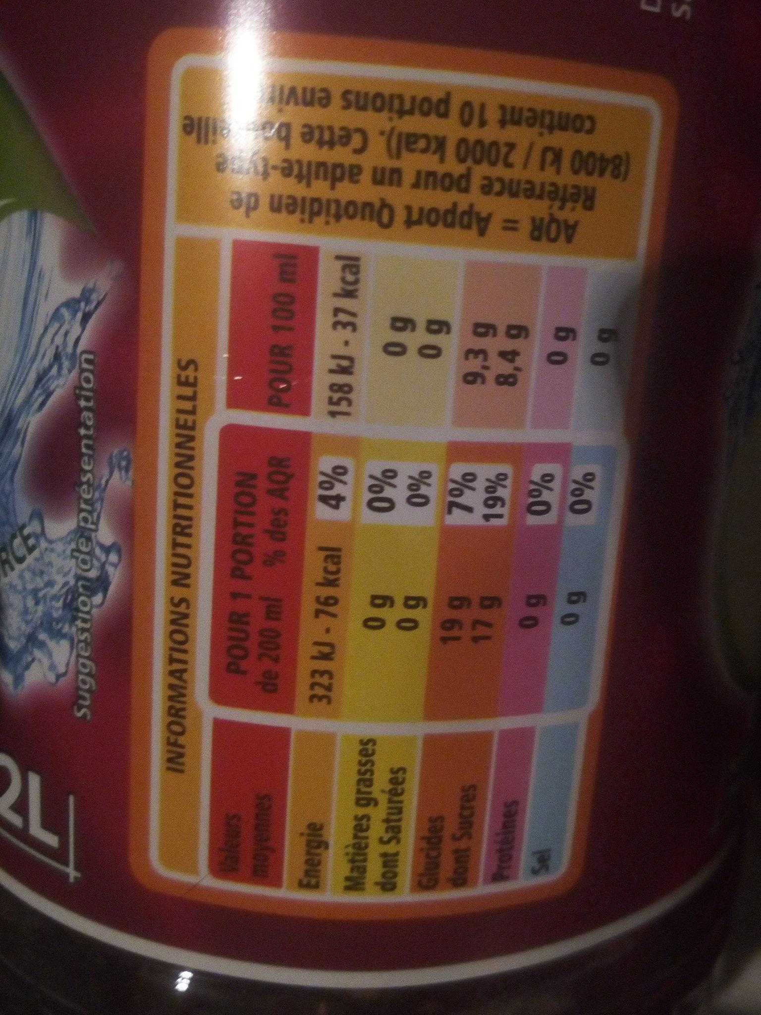 Pomme Cassis à l'eau de source - Informations nutritionnelles - fr