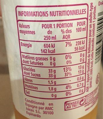 Juste Plaisir Smoothie Banane Mangue Passion flash pasteurisé - Informations nutritionnelles - fr