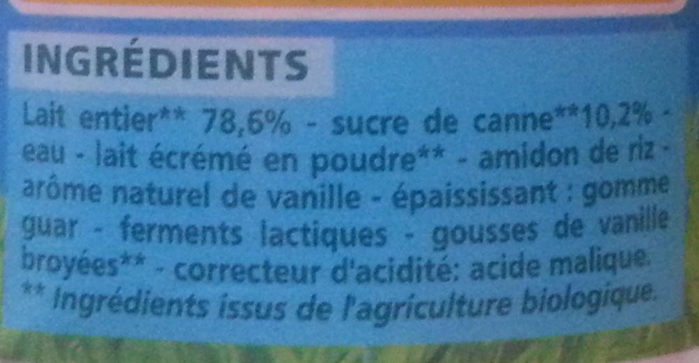 Yaourts brassés vanille BIO - Ingrédients